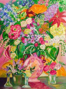 Floral Vase | Painting by Sandy Jones